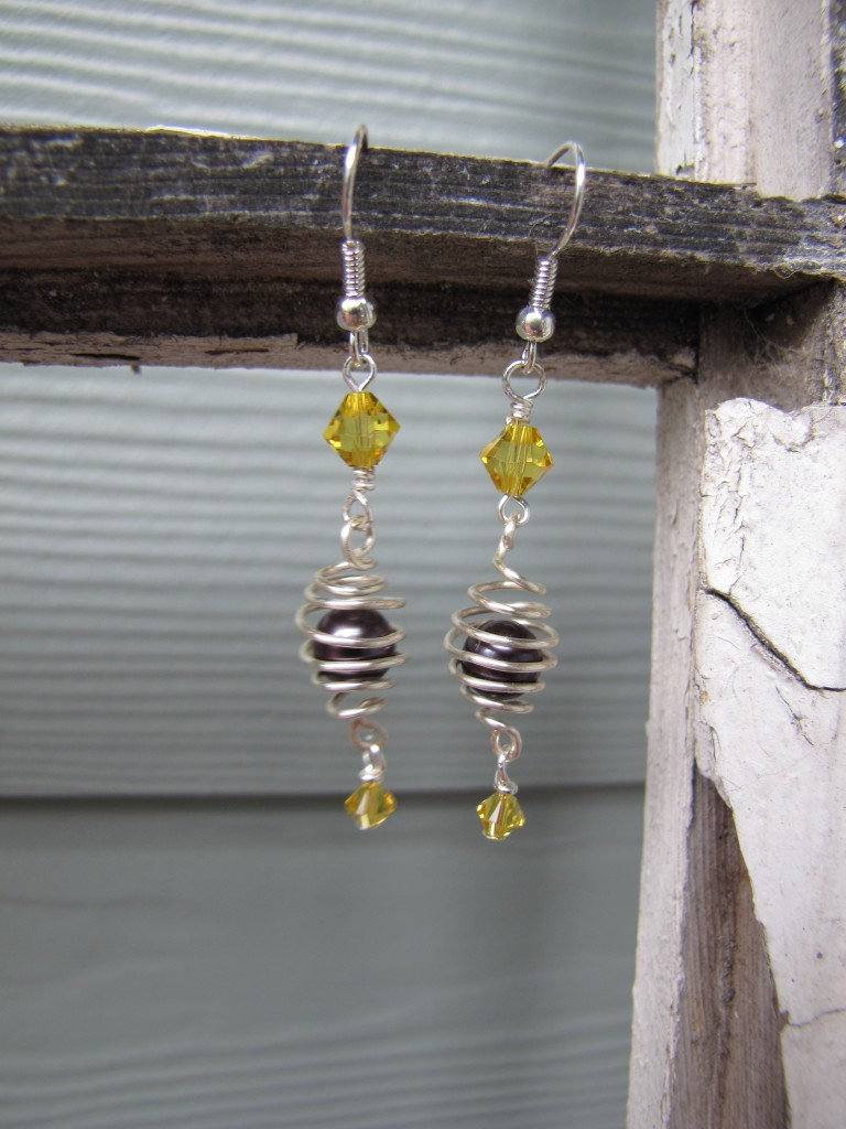 pearl caged earring